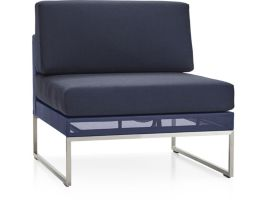 Dune Armless Chair with Cushions shown in Sunbrella, Navy