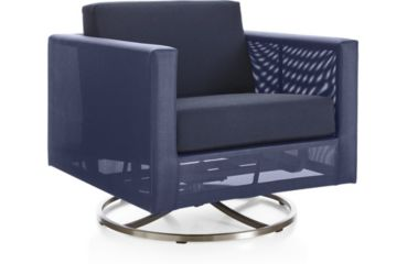 Dune Swivel Lounge Chair with Cushions shown in Sunbrella, Navy
