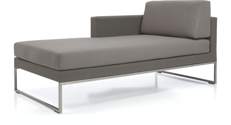 Dune Left Arm Chaise with Cushions shown in Sunbrella Taupe  sc 1 st  Crate and Barrel : taupe chaise lounge - Sectionals, Sofas & Couches