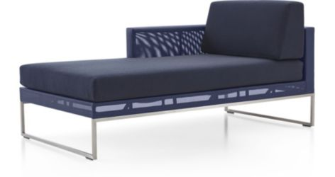 Dune  Left Arm Chaise with Cushions shown in Sunbrella, Navy