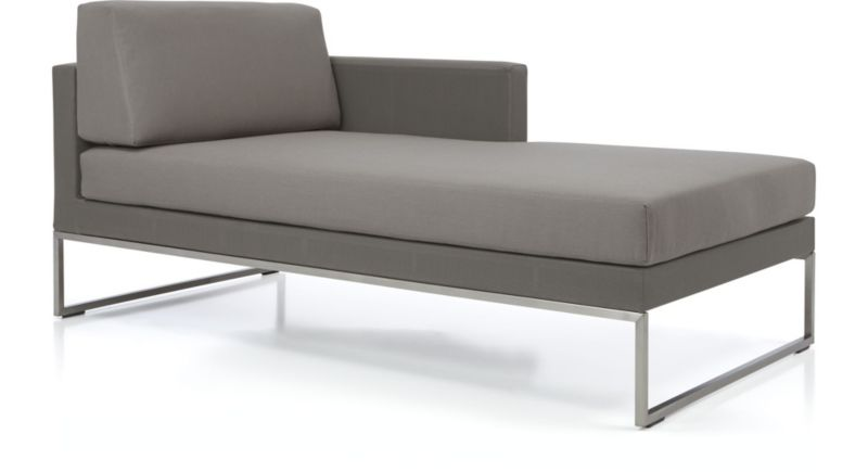 Dune Right Arm Chaise With Cushions Shown In Sunbrella, Taupe