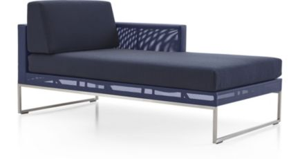 Dune Right Arm Chaise with Cushions shown in Sunbrella, Navy