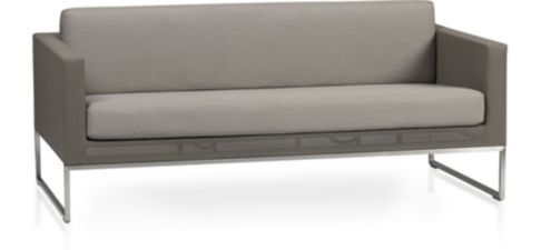 Dune Sofa with Cushions. shown in Sunbrella, Taupe