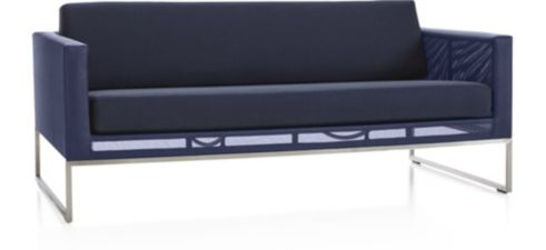 Dune Sofa with Cushions shown in Sunbrella, Navy