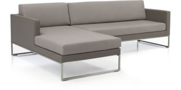 Dune 2-Piece Sectional with Cushions(Right Arm Loveseat, Left Arm Chaise) shown in Sunbrella, Taupe