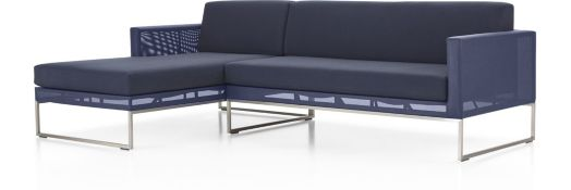 Dune 2-Piece Left Arm Chaise Sectional with Sunbrella ® Cushions(Right Arm Loveseat, Left Arm Chaise) shown in Sunbrella, Navy