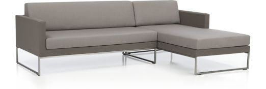 Dune 2-Piece Sectional with Cushions(Left Arm Loveseat, Right Arm Chaise) shown in Sunbrella, Taupe