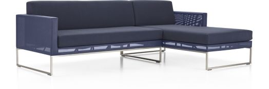 Dune 2-Piece Right Arm Chaise Sectional with Sunbrella ® Cushions(Left Arm Loveseat, Right Arm Chaise) shown in Sunbrella, Navy