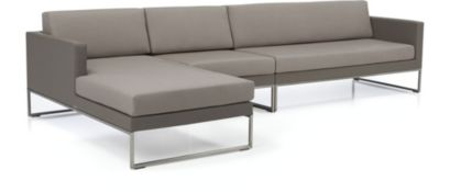 Dune 3-Piece Sectional Sofa with Cushions(Right Arm Loveseat, Armless Chair, Left Arm Chaise) shown in Sunbrella, Taupe