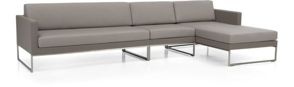 Dune 3-Piece Sectional Sofa with Cushions(Left Arm Loveseat, Armless Chair, Right Arm Chaise) shown in Sunbrella, Taupe