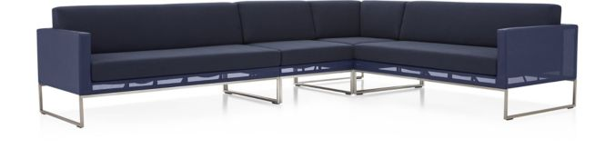 Dune 3-Piece Sectional Sofa with Cushions: (Left Arm Loveseat, Corner, Right Arm Loveseat) shown in Sunbrella, Navy