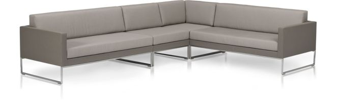 Dune 4-Piece Sectional Sofa with Cushions (Left Arm Loveseat, Armless Chair, Corner, Right Arm Loveseat) shown in Sunbrella, Taupe