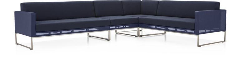 Dune 4-Piece Sectional Sofa with Cushions(Left Arm Loveseat, Armless Chair, Corner, Right Arm Loveseat) shown in Sunbrella, Navy