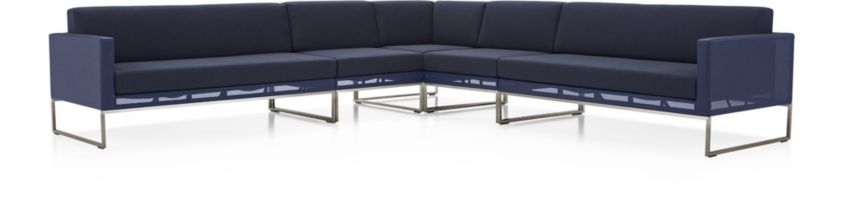 Dune 5-Piece Sectional Sofa with Cushions(Left Arm Loveseat, Corner, 2 Armless Chairs, Right Arm Loveseat) shown in Sunbrella, Navy