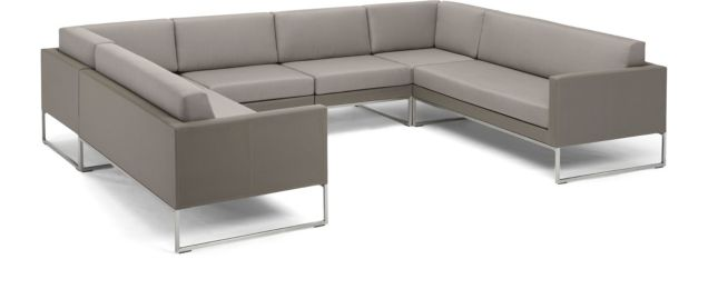 Dune 6-Piece Sectional Sofa(Left Arm Loveseat, 2 Corners, 2 Armless Chairs, Right Arm Loveseat) shown in Sunbrella, Taupe