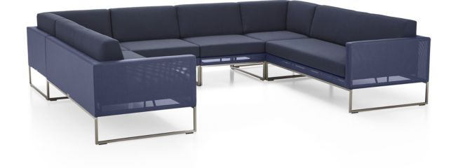 Dune 6-Piece Sectional Sofa(Left Arm Loveseat, 2 Corners, 2 Armless Chairs, Right Arm Loveseat) shown in Sunbrella, Navy