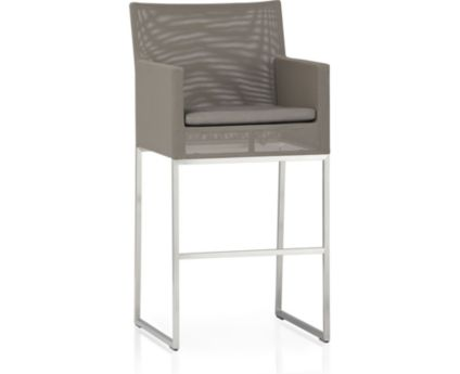"Dune 30"" Bar Stool with Cushion shown in Sunbrella, Taupe"