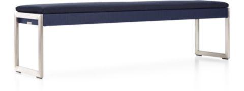 Dune Dining Bench with Sunbrella ® Cushion shown in Sunbrella, Navy