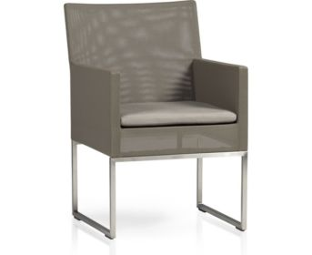 Dune Dining Chair with Cushion shown in Sunbrella, Taupe
