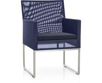 Dune Dining Chair with Sunbrella ® Cushion shown in Sunbrella, Navy
