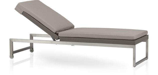 Dune Chaise Lounge with Cushion shown in Sunbrella, Taupe