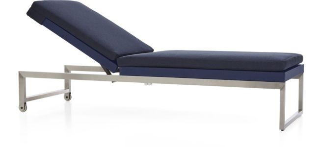 Dune Chaise Lounge with Cushion shown in Sunbrella, Navy