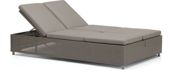 Dune Double Chaise Sofa Lounge with Cushions shown in Sunbrella, Taupe