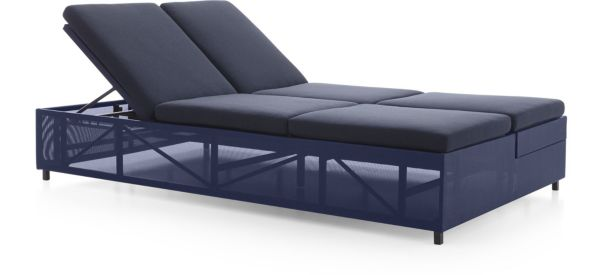 Dune Double Chaise Sofa Lounge with Cushions shown in Sunbrella, Navy
