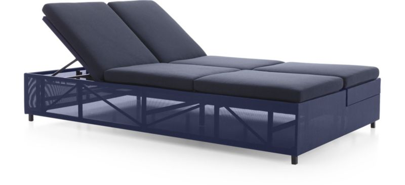 Good Dune Double Chaise Sofa Lounge With Cushions Shown In Sunbrella, Navy