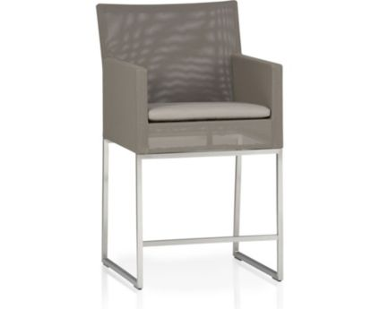 "Dune 24"" Counter Stool with Cushion shown in Sunbrella, Taupe"
