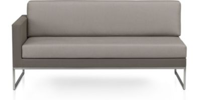 Dune Left Arm Loveseat with Cushions shown in Sunbrella, Taupe