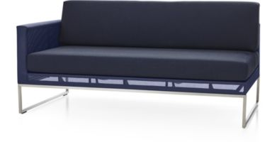 Dune Left Arm Loveseat with Cushions shown in Sunbrella, Navy