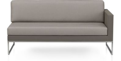 Dune Right Arm Loveseat with Cushions shown in Sunbrella, Taupe