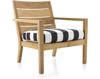 Regatta Lounge Chair with Cushion shown in Sunbrella, Cabana Stripe