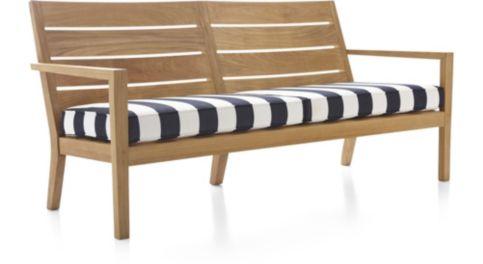 Regatta Sofa with Cushion shown in Sunbrella, Cabana Stripe