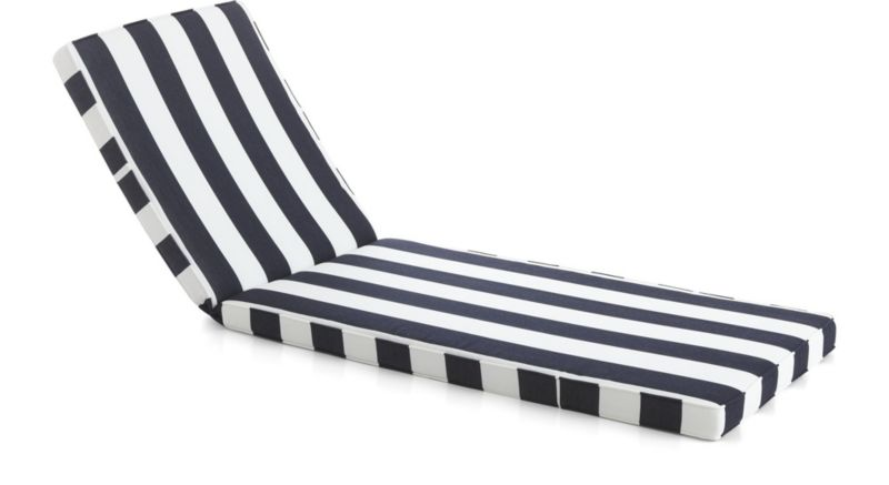 Regatta sunbrella chaise lounge cushion crate and barrel for Black and white striped chaise lounge cushions