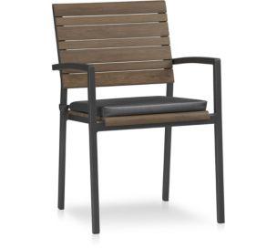 Rocha Dining Chair with Cushion shown in Sunbrella, Charcoal