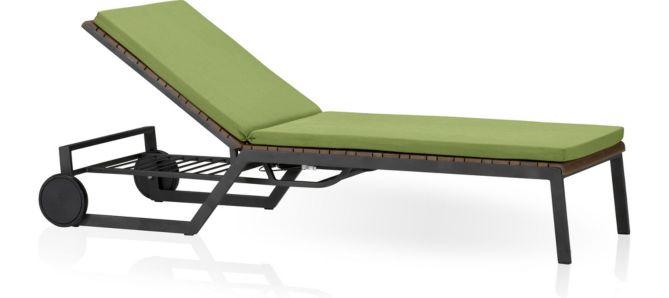 Rocha Chaise Lounge with Cushion shown in Sunbrella, Kiwi