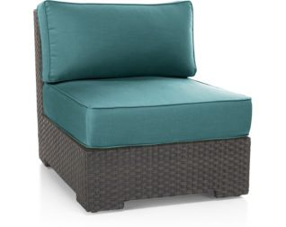 Ventura Umber Modular Armless Chair with Cushions shown in Sunbrella, Bold Turquoise