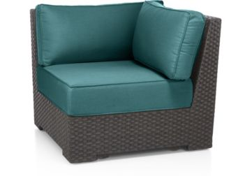 Ventura Umber Modular Corner Chair with Cushions shown in Sunbrella, Bold Turquoise