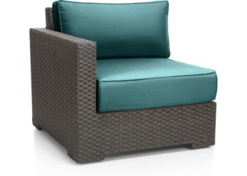 Ventura Umber Modular Left Arm Chair with Cushions shown in Sunbrella, Bold Turquoise