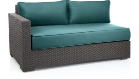 Ventura Umber Modular Left Arm Loveseat with Cushions shown in Sunbrella, Bold Turquoise