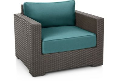 Ventura Umber Lounge Chair with Cushions shown in Sunbrella, Bold Turquoise