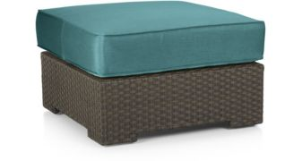 Ventura Umber Ottoman with Cushion shown in Sunbrella, Bold Turquoise