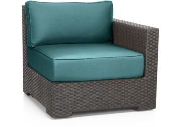 Ventura Umber Modular Right Arm Chair with Cushions shown in Sunbrella, Bold Turquoise