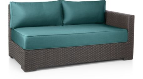 Ventura Umber Modular Right Arm Loveseat with Cushions shown in Sunbrella, Bold Turquoise