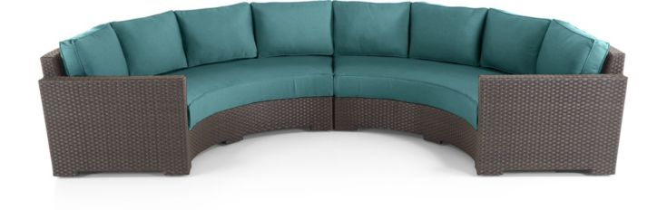 Ventura Umber Round 2-Piece Sectional with Cushions(Left Arm Round Sofa, Right Arm Round Sofa) shown in Sunbrella, Bold Turquoise