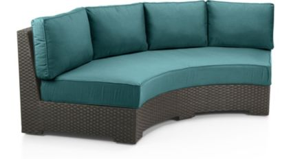Ventura Umber Round Armless Sofa with Sunbrella Cushions shown in Sunbrella, Bold Turquoise
