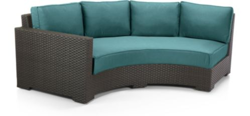 Ventura Umber Round Left Arm Sofa with Cushions shown in Sunbrella, Bold Turquoise