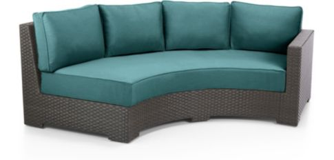 Ventura Umber Round Right Arm Sofa with Cushions shown in Sunbrella, Bold Turquoise